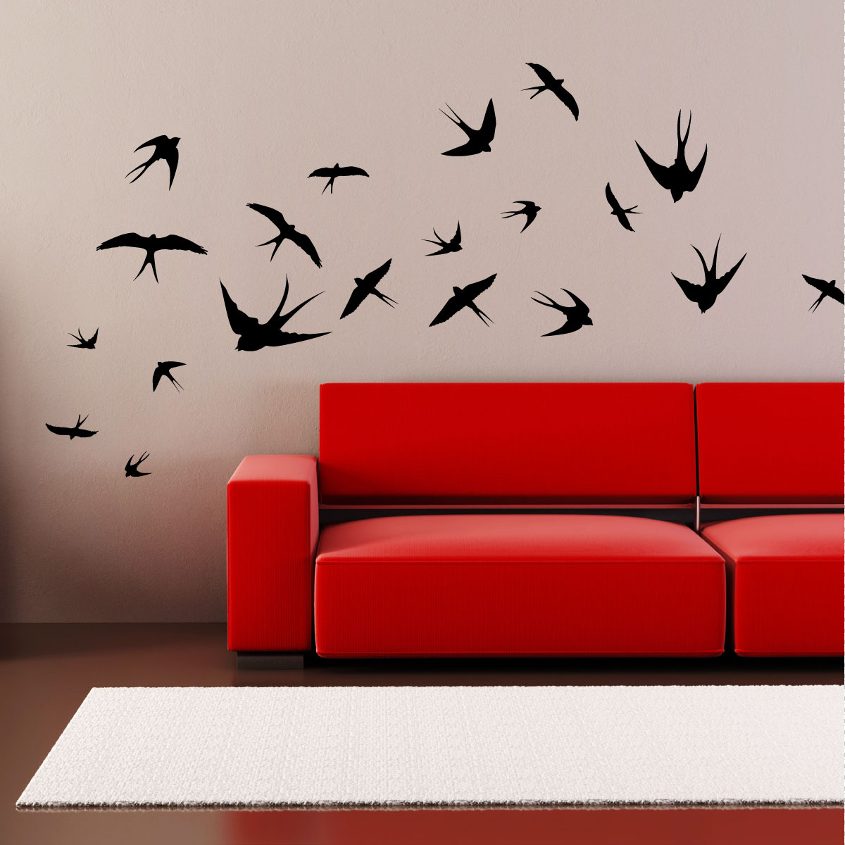 stickers muraux design sticker mural 20 hirondelles ambiance. Black Bedroom Furniture Sets. Home Design Ideas