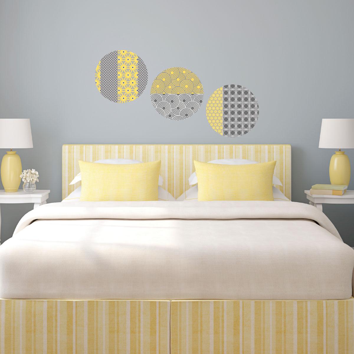 sticker 3 ronds d coratifs jaune et gris stickers art et. Black Bedroom Furniture Sets. Home Design Ideas