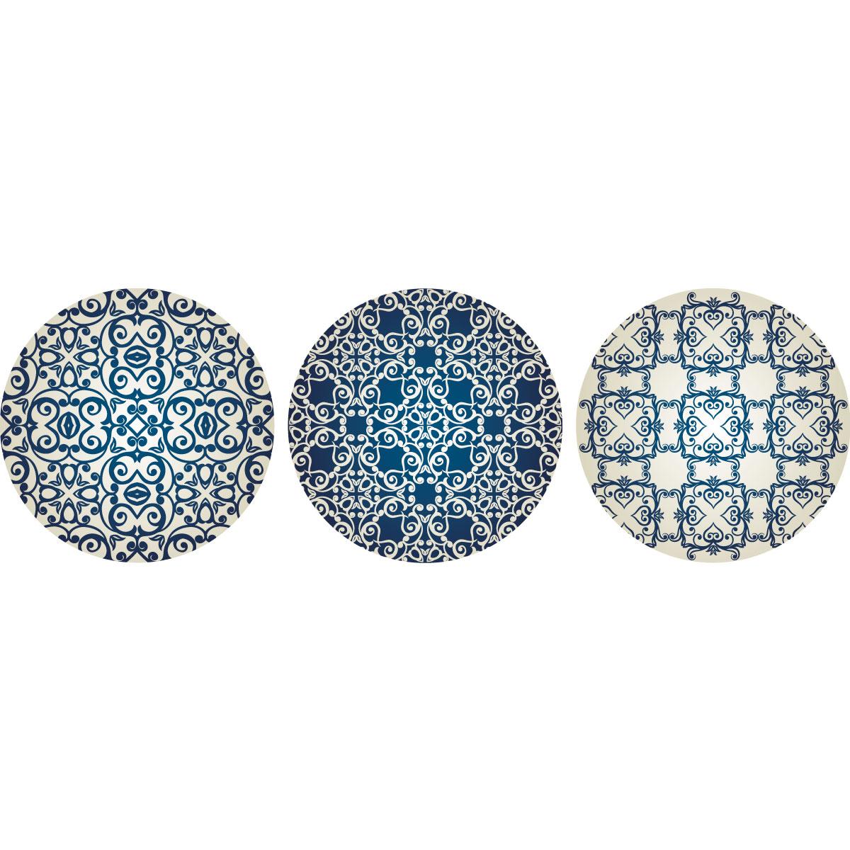 sticker 3 ronds d233coratifs arabesque bleu et gris