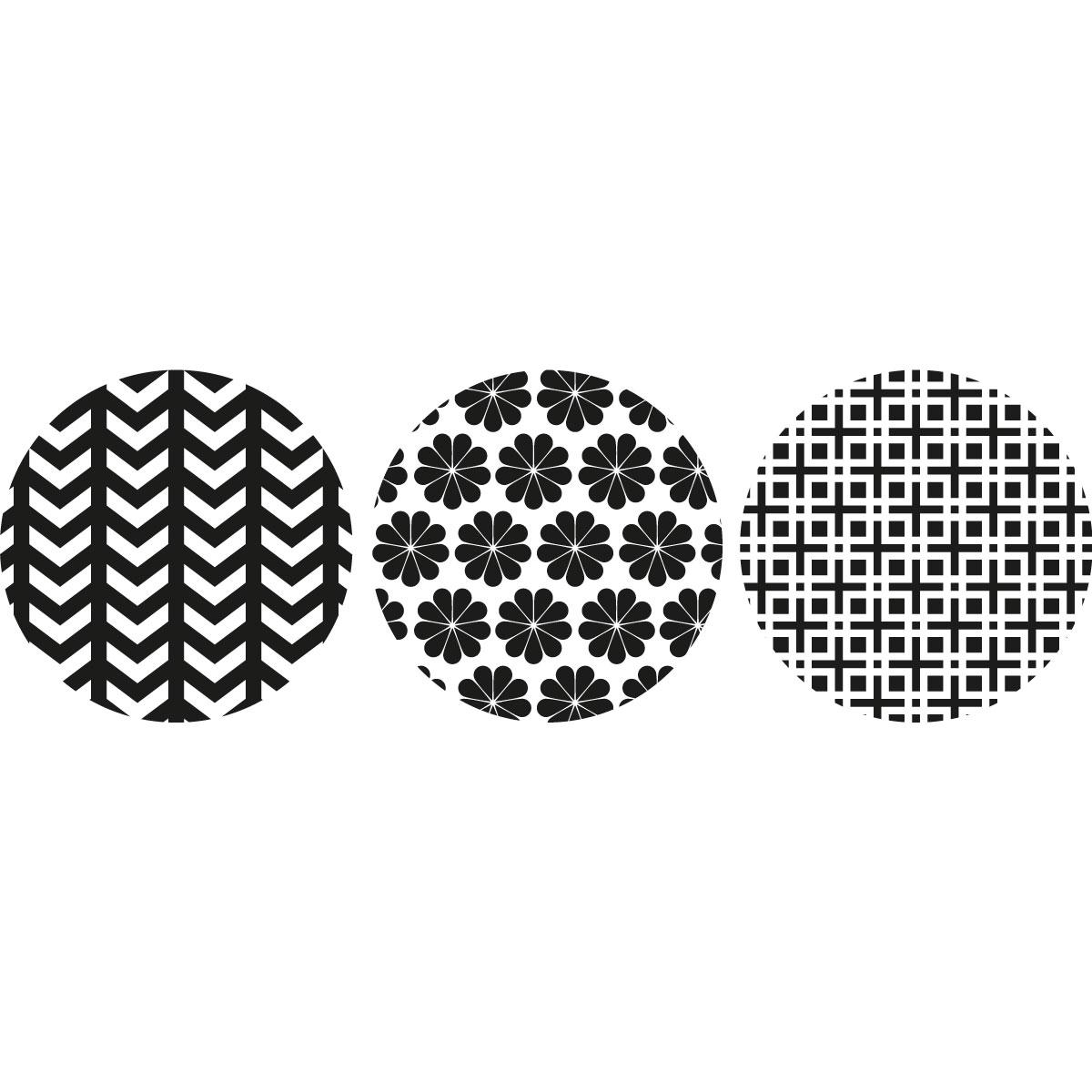 Sticker 3 ronds d coratifs noir et blanc avec fleures stickers nature ambiance sticker - Stickers muraux noir et blanc ...