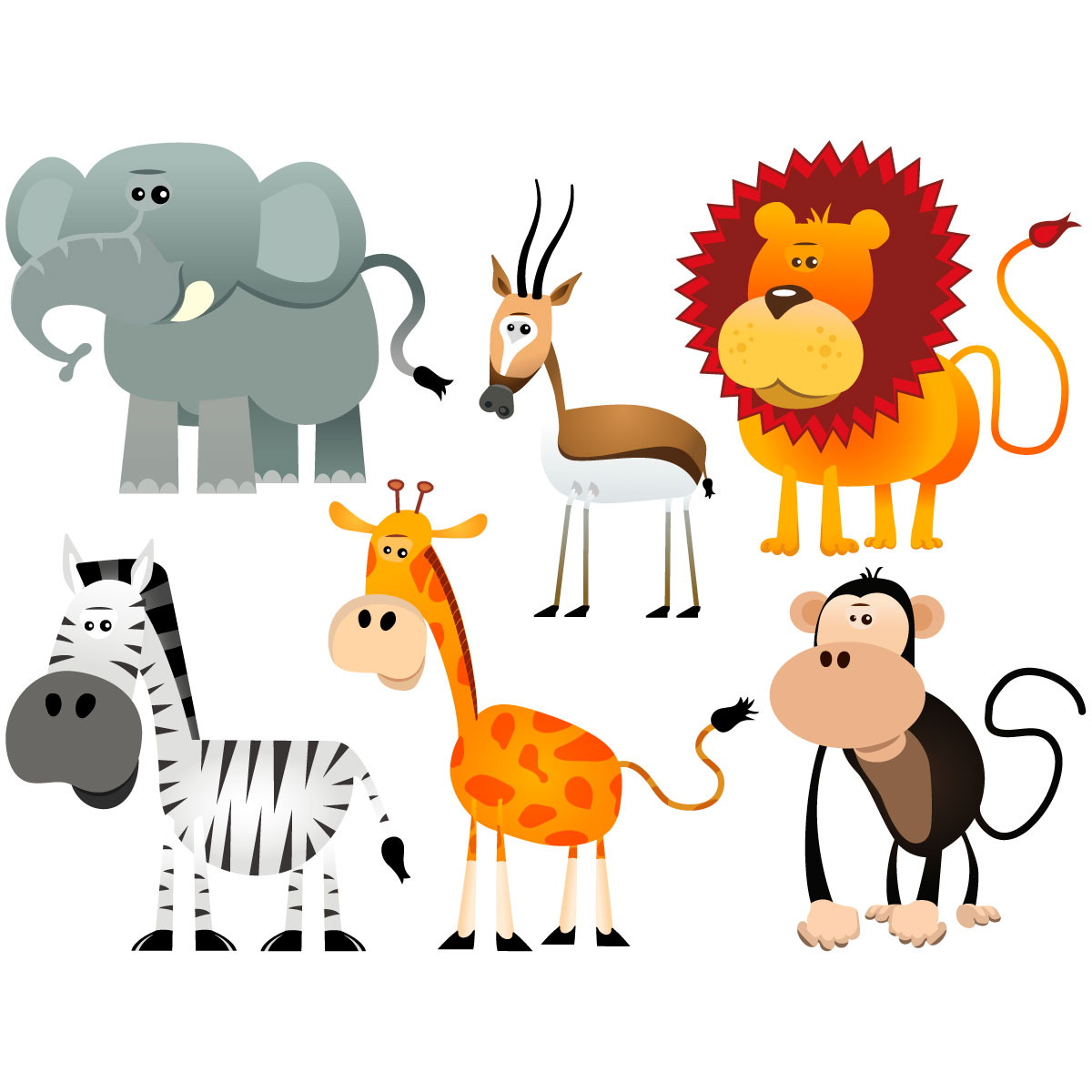 sticker 6 animaux de la jungle stickers animaux animaux de la jungle ambiance sticker. Black Bedroom Furniture Sets. Home Design Ideas