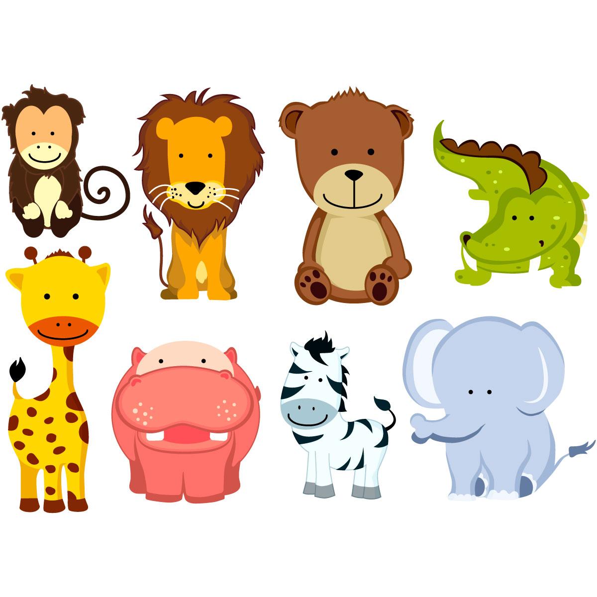 Sticker 8 animaux de la jungle stickers animaux animaux d 39 afrique ambiance sticker - Decoration animaux de la jungle ...