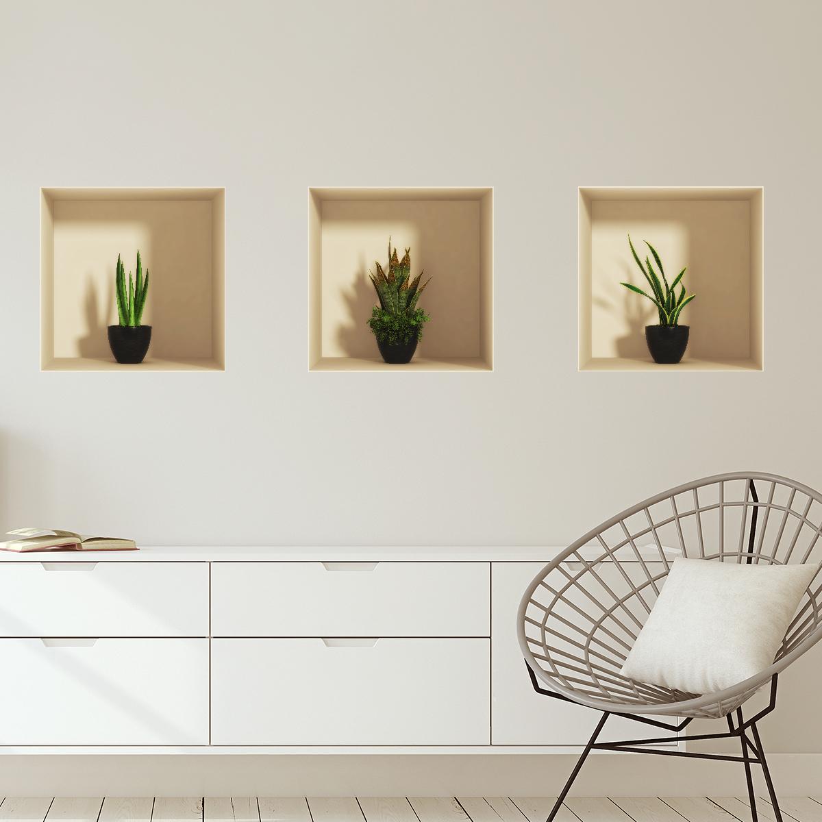 Sticker à effet 3D plantes d\'intérieur – Stickers SALON Effet 3D ...