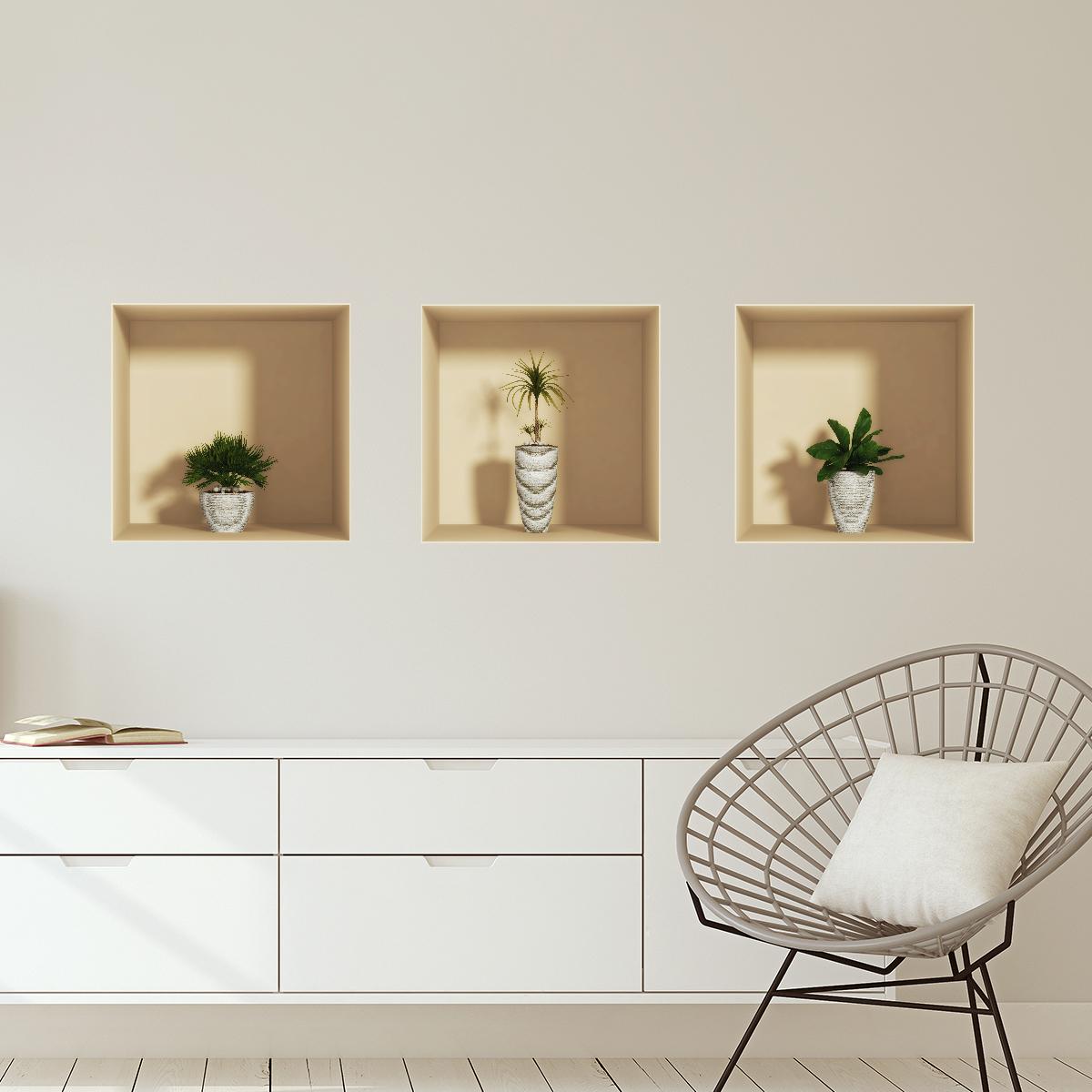 sticker effet 3d plantes design stickers salon effet 3d ambiance sticker. Black Bedroom Furniture Sets. Home Design Ideas