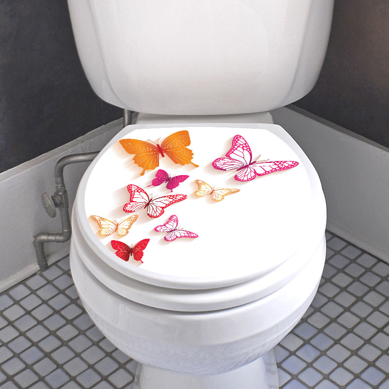 Sticker abattant toilette avec les papillons color - Stickers abattant wc ...