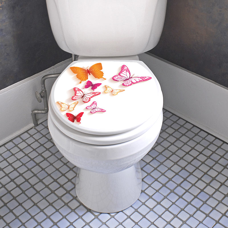 sticker abattant toilette avec les papillons color. Black Bedroom Furniture Sets. Home Design Ideas