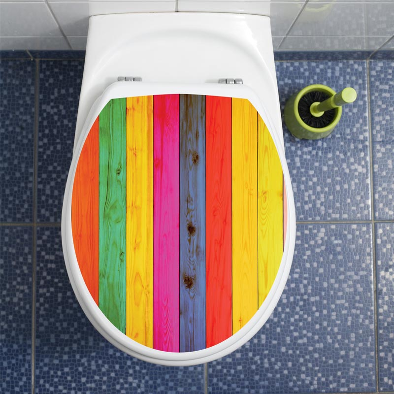 Sticker abattant toilette bois multi couleurs stickers toilettes abattants wc ambiance sticker - Stickers abattant wc ...