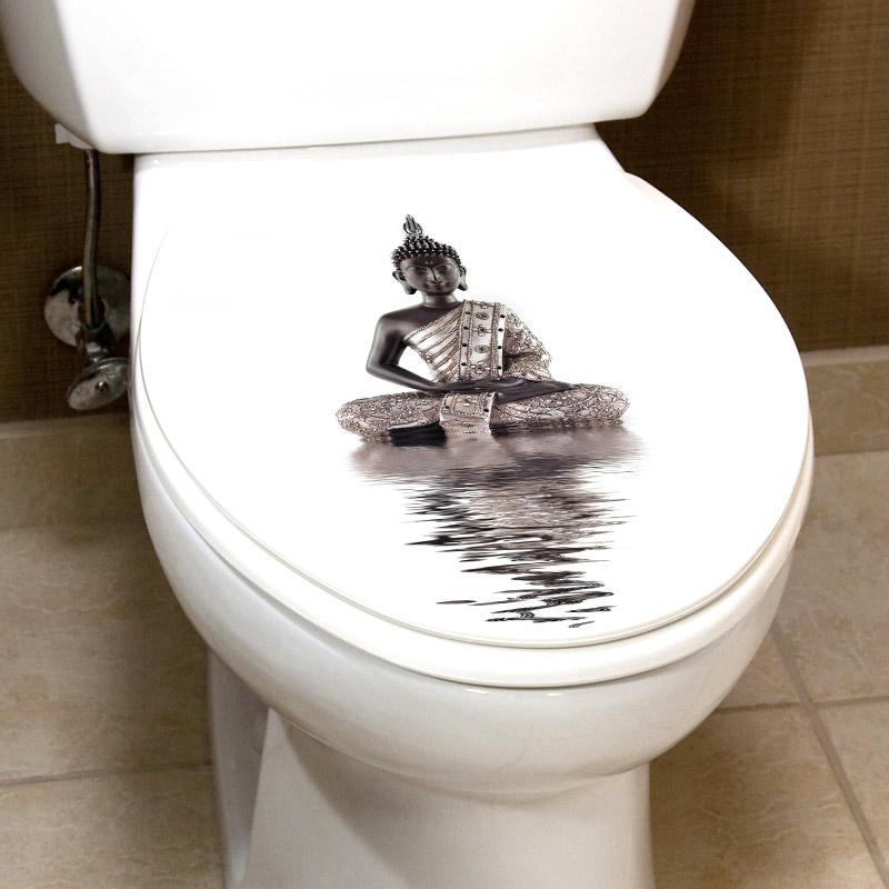 sticker abattant toilette bouddha sur l eau stickers. Black Bedroom Furniture Sets. Home Design Ideas