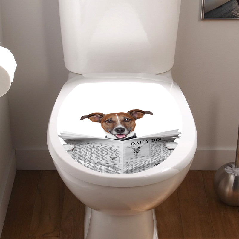 sticker abattant toilette chien avec un journal stickers toilettes abattants wc ambiance sticker. Black Bedroom Furniture Sets. Home Design Ideas