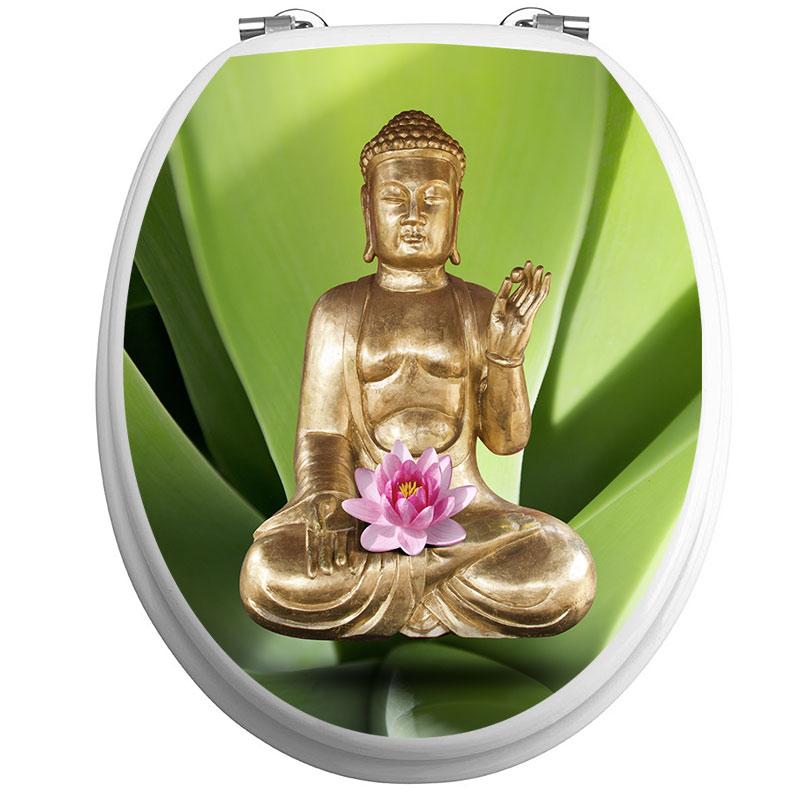 sticker abattant wc bouddha avec fleur de lotus stickers. Black Bedroom Furniture Sets. Home Design Ideas