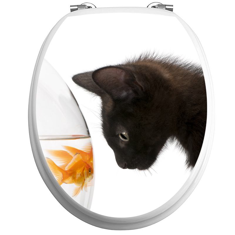 Sticker abattant wc chat noir et poisson d or stickers - Stickers abattant wc ...