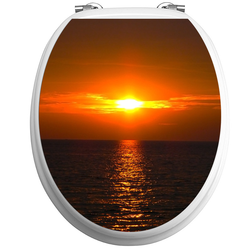 Sticker abattant wc coucher du soleil la mer stickers - Stickers abattant wc ...