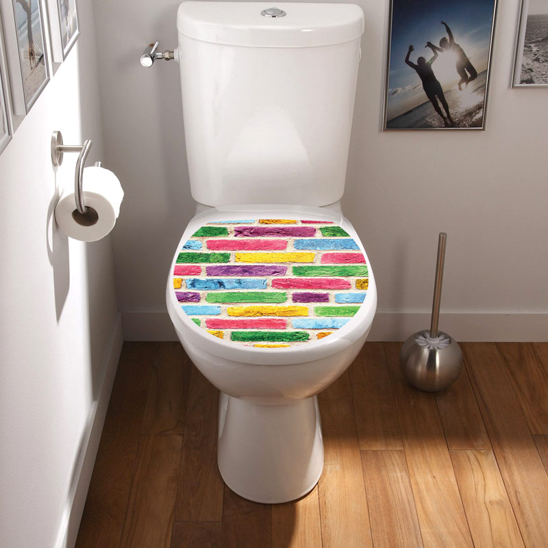 Sticker abattant wc mur multi couleurs stickers - Stickers abattant wc ...