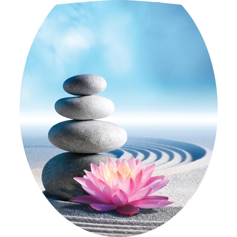 Sticker abattant wc zen les galets et fleur de lotus for Bouquet de fleurs zen