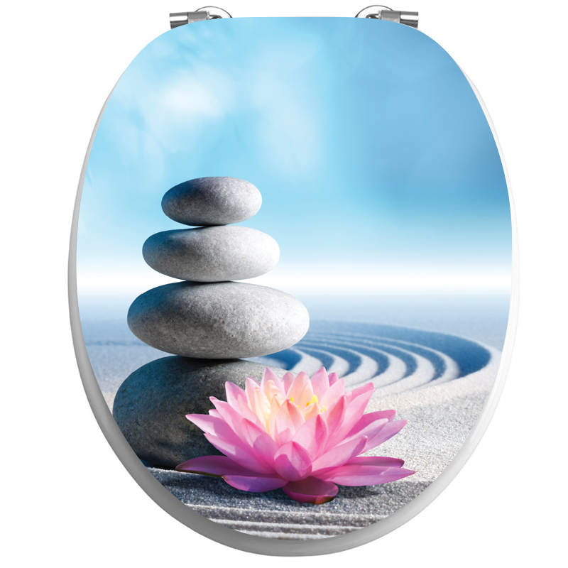 Sticker abattant wc zen les galets et fleur de lotus - Stickers abattant wc ...
