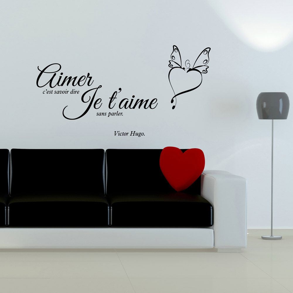 sticker aimer victor hugo stickers citations fran ais. Black Bedroom Furniture Sets. Home Design Ideas