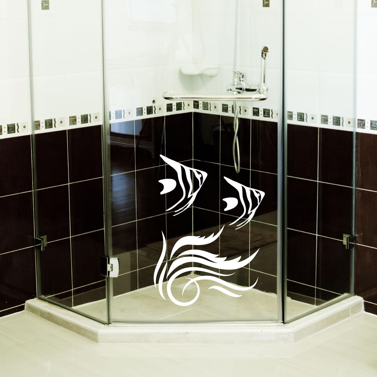 stickers muraux pour salle de bain sticker mural algues et poissons ambiance. Black Bedroom Furniture Sets. Home Design Ideas