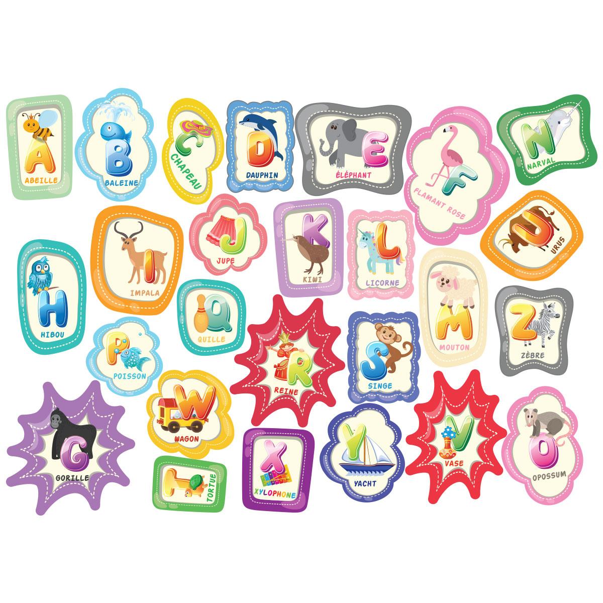 sticker alphabet pour les enfants stickers animaux animaux de la jungle ambiance sticker. Black Bedroom Furniture Sets. Home Design Ideas