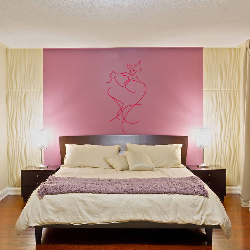 sticker amour couple romantique stickers chambre t tes. Black Bedroom Furniture Sets. Home Design Ideas