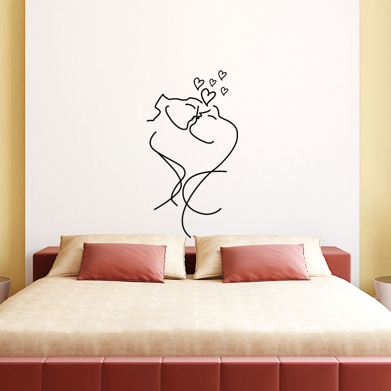 sticker amour couple romantique stickers chambre t tes de lit ambiance sticker. Black Bedroom Furniture Sets. Home Design Ideas