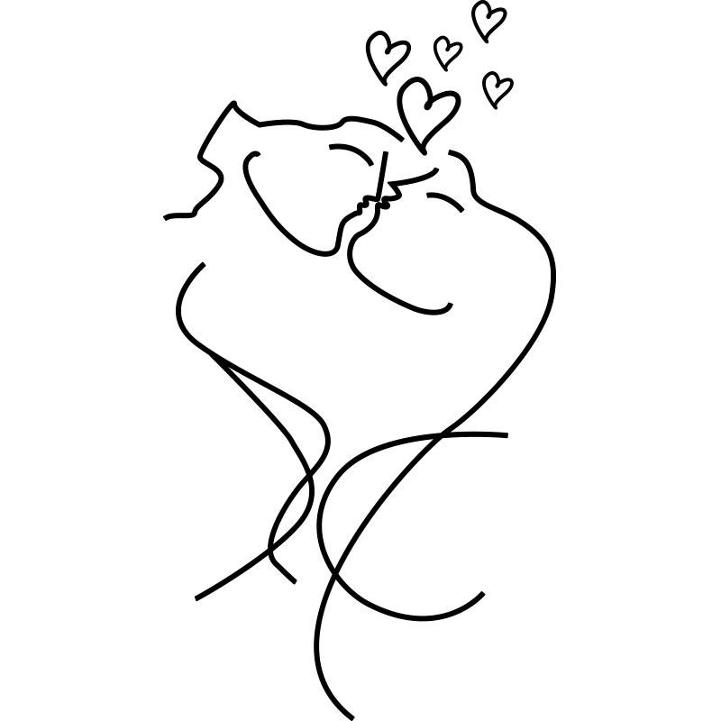sticker amour couple romantique stickers chambre t tes de lit ambiance sticker. Black Bedroom Furniture Sets. Home Design Ideas