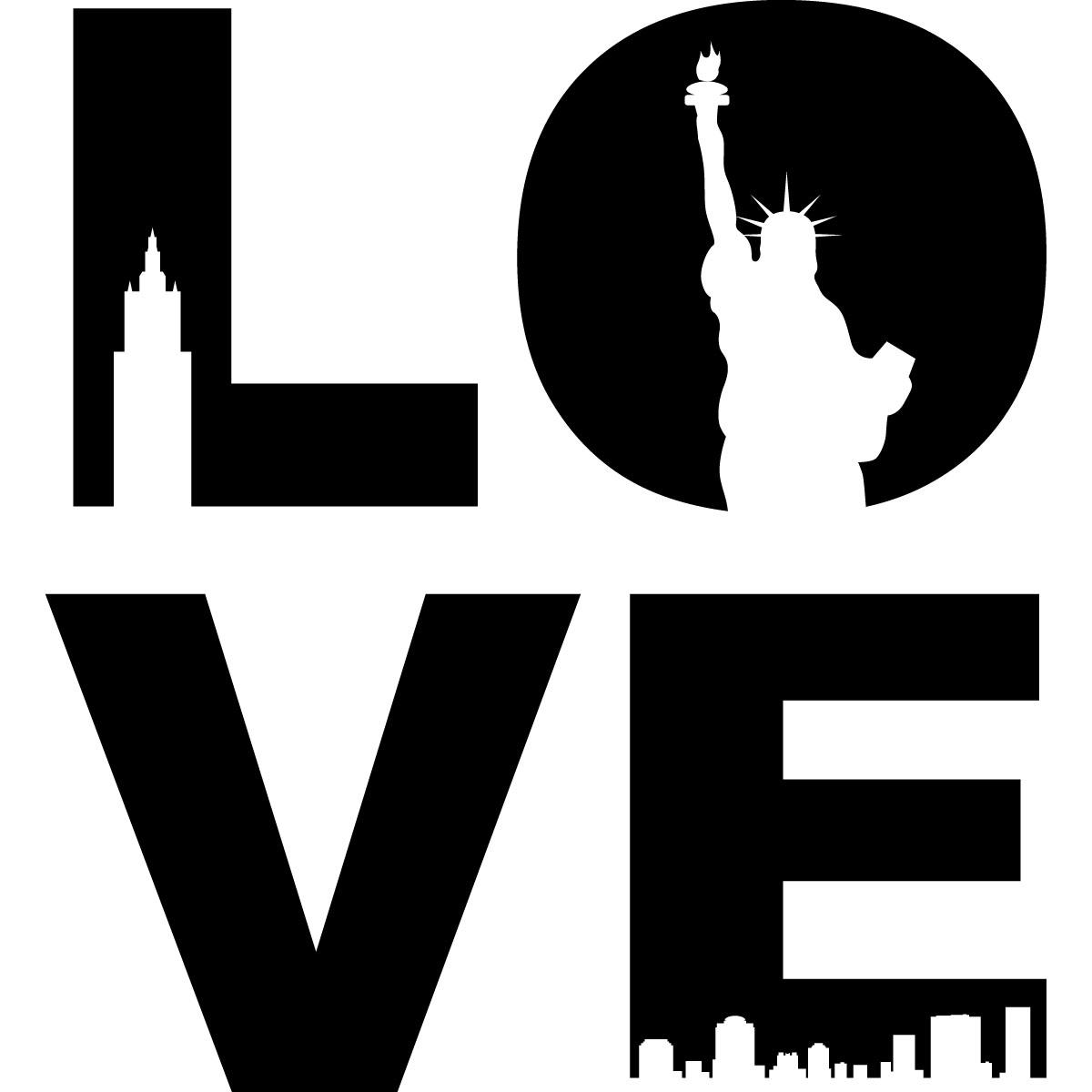 stickers muraux pays et villes sticker amour de new york ambiance. Black Bedroom Furniture Sets. Home Design Ideas