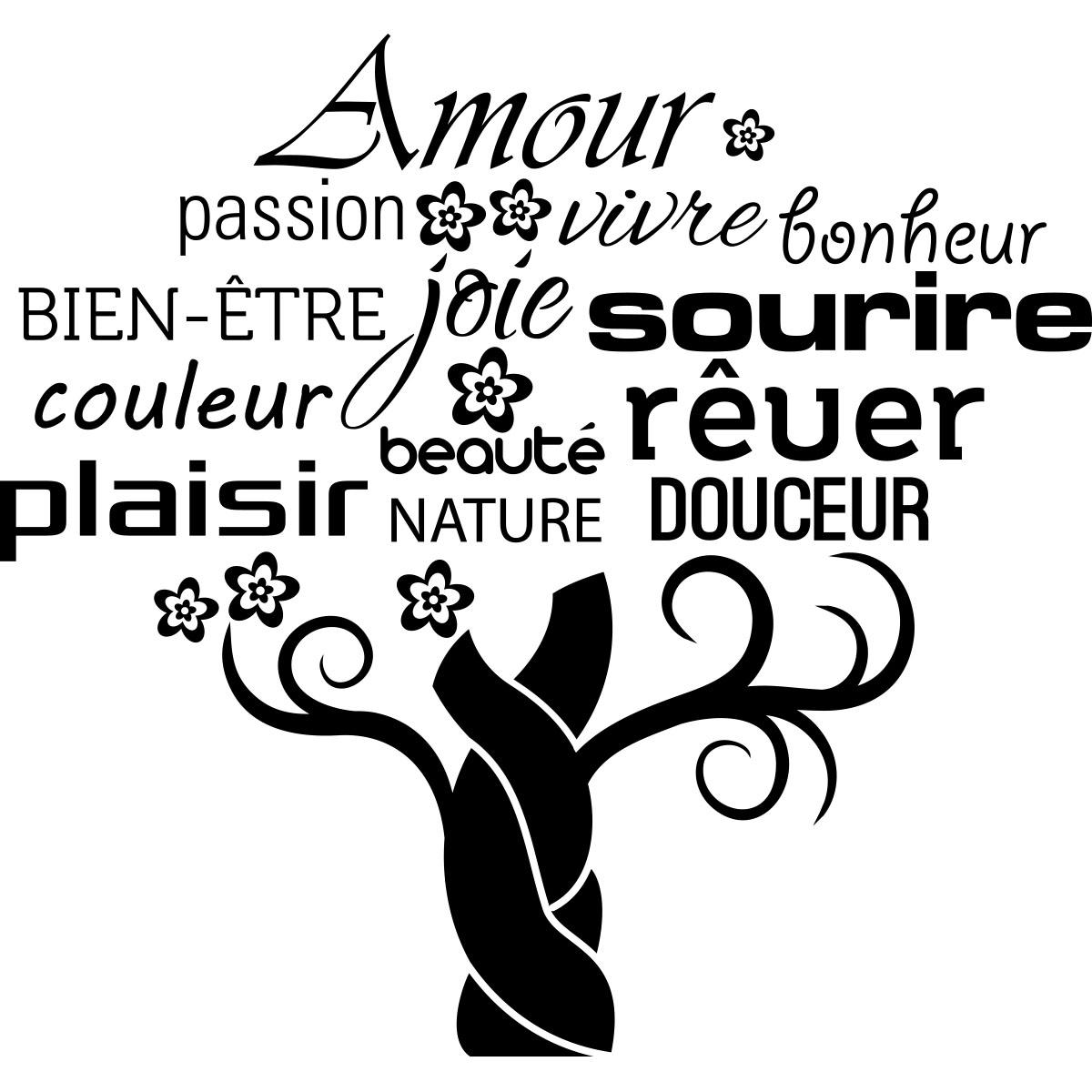 sticker amour passion vivre bonheur stickers citations fran ais ambiance sticker. Black Bedroom Furniture Sets. Home Design Ideas