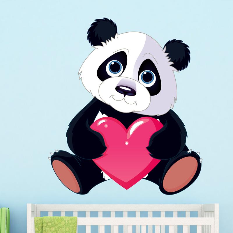 Sticker animal panda amoureux et son coeur stickers - Coeurs amoureux ...