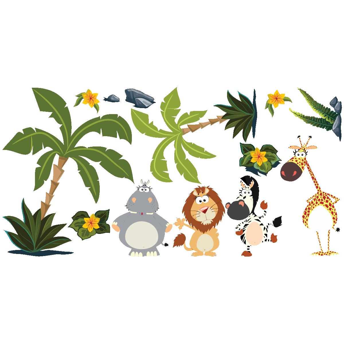 sticker animaux dans la jungle stickers nature arbres ambiance sticker. Black Bedroom Furniture Sets. Home Design Ideas