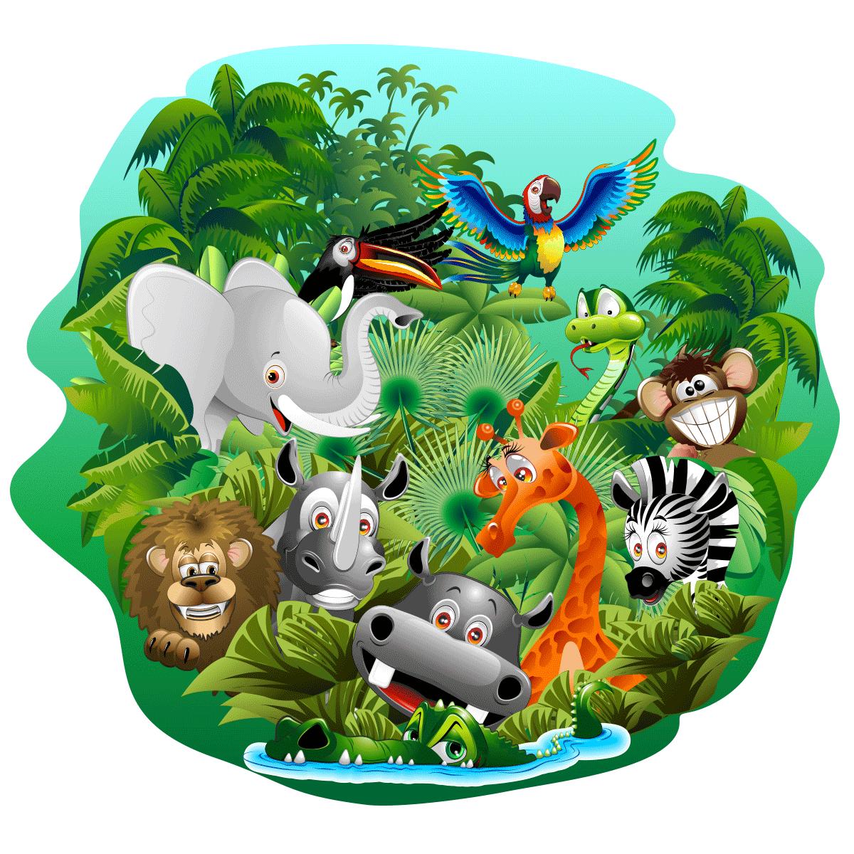 Sticker animaux de la jungle en f te stickers animaux - Animaux de la jungle maternelle ...