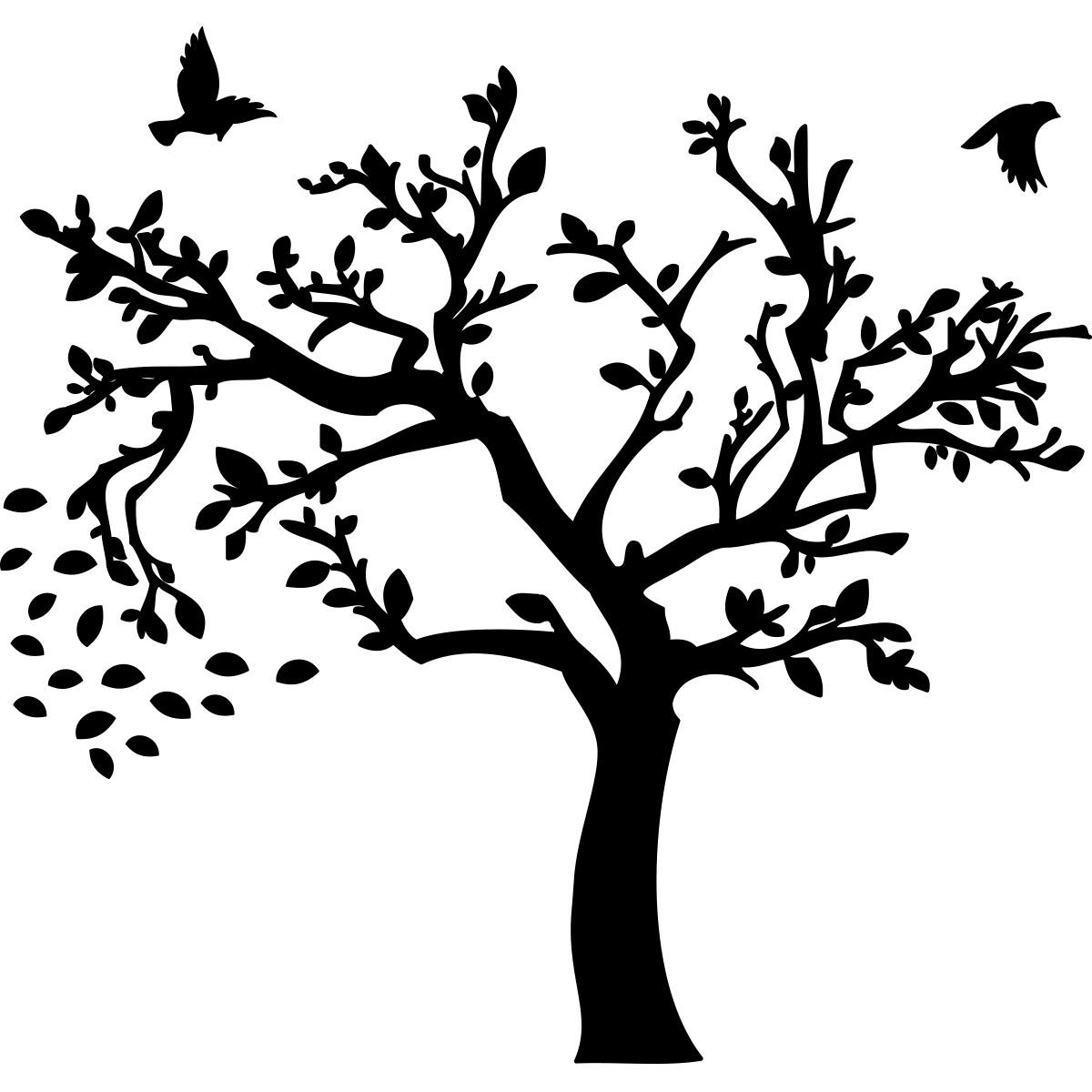 sticker arbre d 39 automne et ses oiseaux stickers nature arbres ambiance sticker. Black Bedroom Furniture Sets. Home Design Ideas