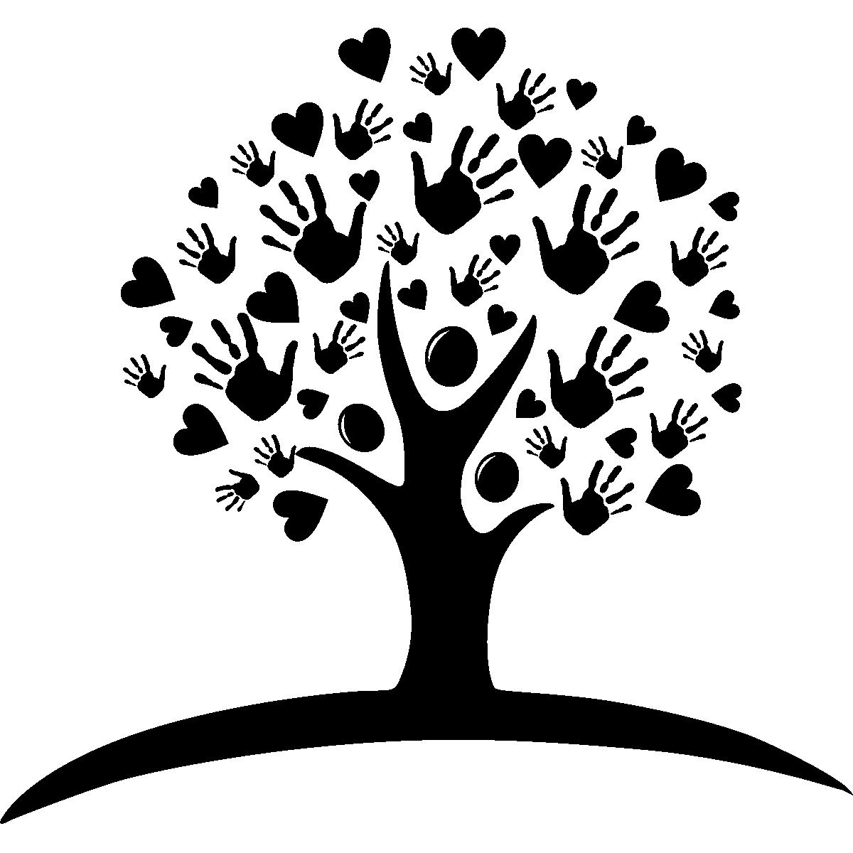 Sticker arbre de coeurs et de mains stickers nature - Stickers muraux arbre ...