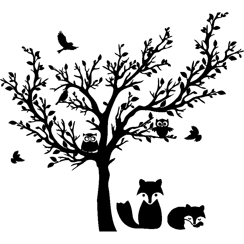 sticker arbre des animaux stickers nature arbres ambiance sticker. Black Bedroom Furniture Sets. Home Design Ideas