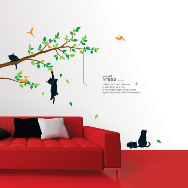 stickers muraux fleurs sticker arbre et chats ambiance. Black Bedroom Furniture Sets. Home Design Ideas