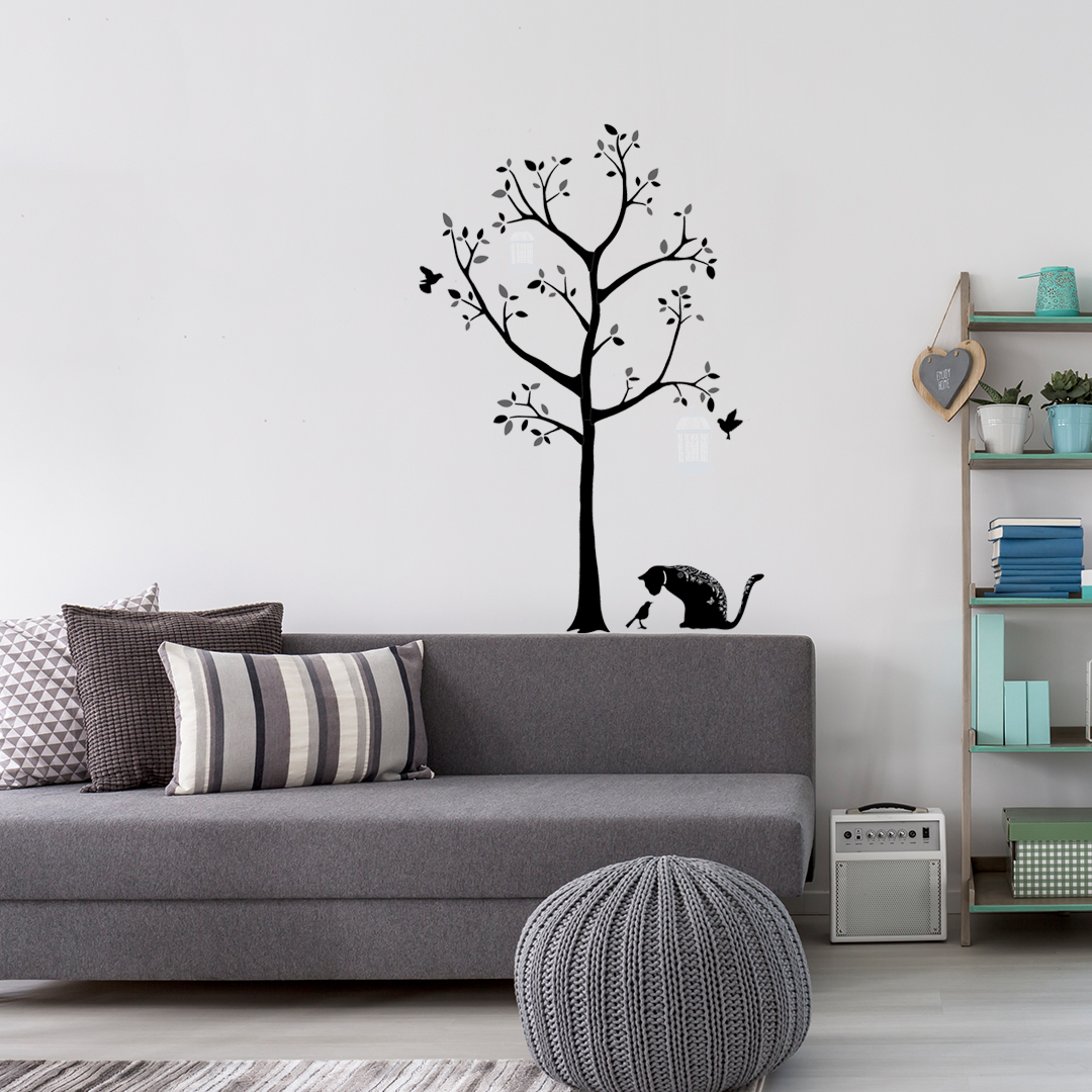 stickers arbre et chats. Black Bedroom Furniture Sets. Home Design Ideas
