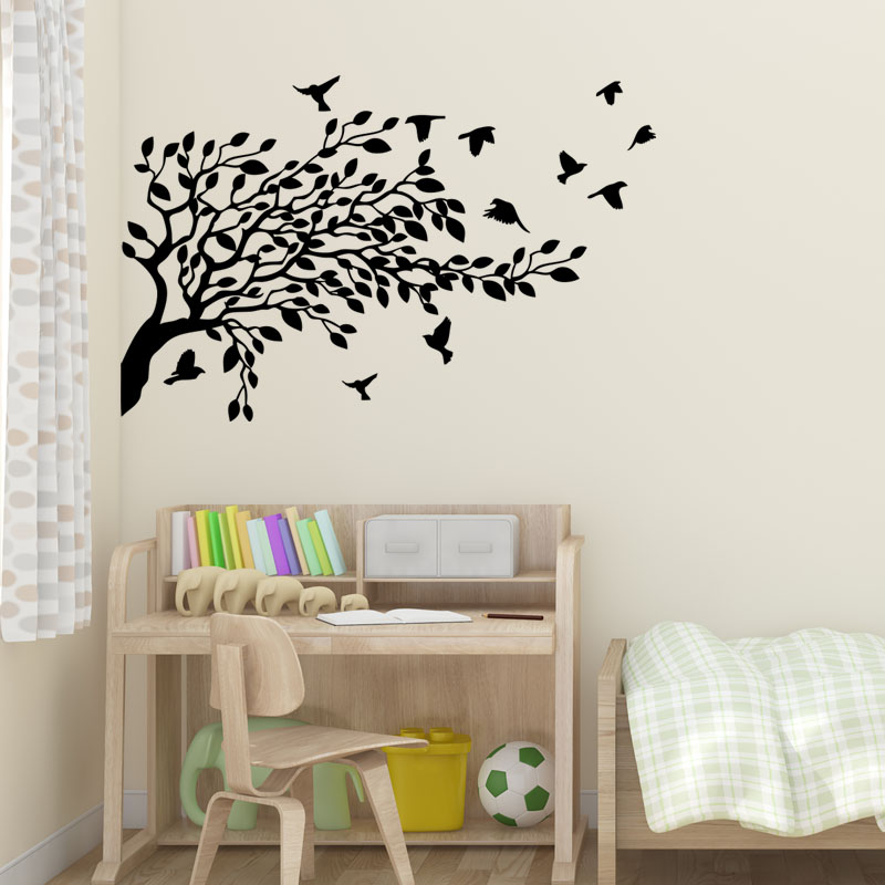 sticker arbre et ses 3 oiseaux stickers nature arbres. Black Bedroom Furniture Sets. Home Design Ideas