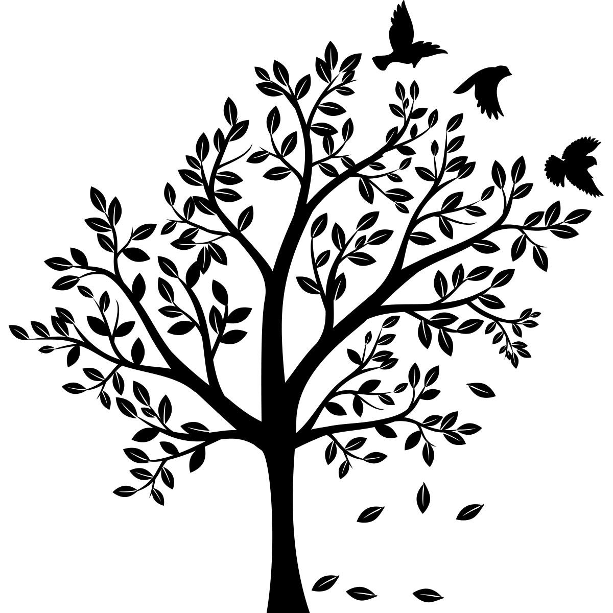 sticker arbre et ses 3 oiseaux stickers nature arbres ambiance sticker. Black Bedroom Furniture Sets. Home Design Ideas