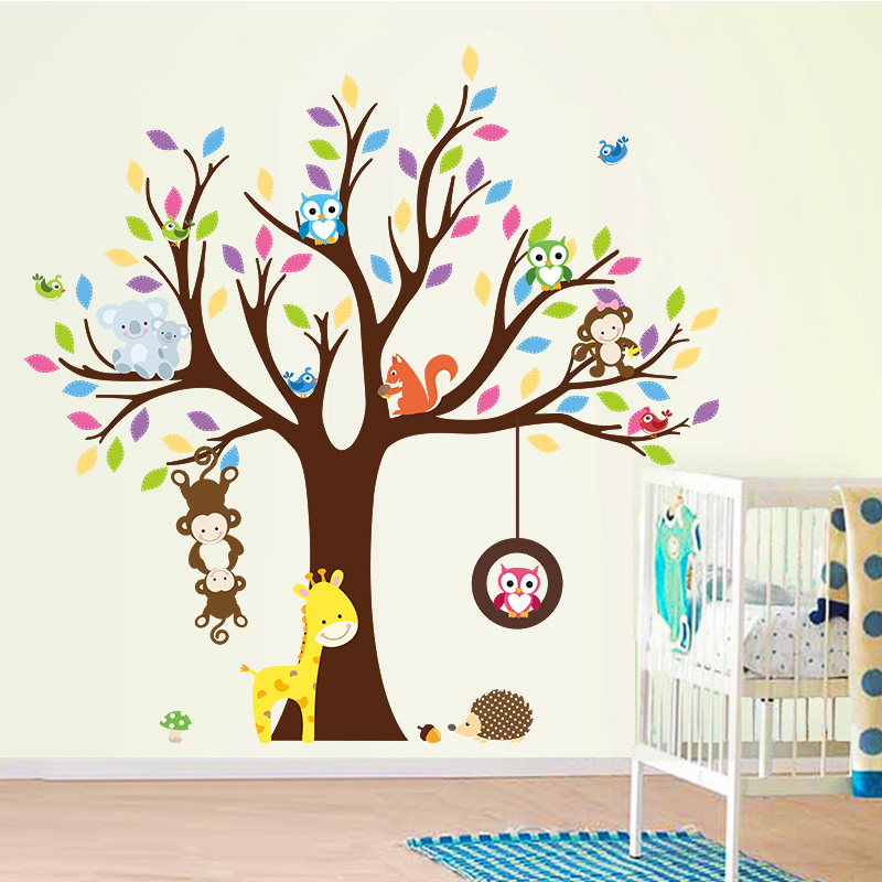 Sticker arbre g ant avec singes hibou et girafe for Stickers et decoration