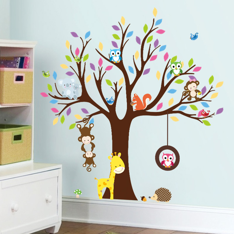 Sticker arbre g ant avec singes hibou et girafe for Stickers pared ninos
