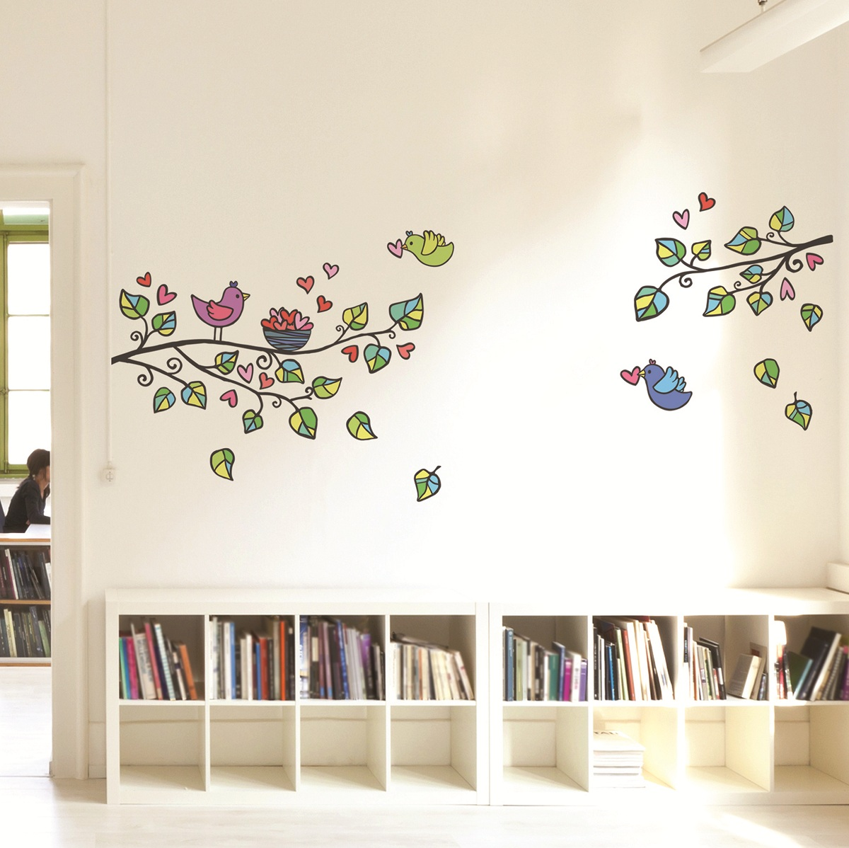 stickers muraux fleurs sticker arbre oiseaux et c urs. Black Bedroom Furniture Sets. Home Design Ideas