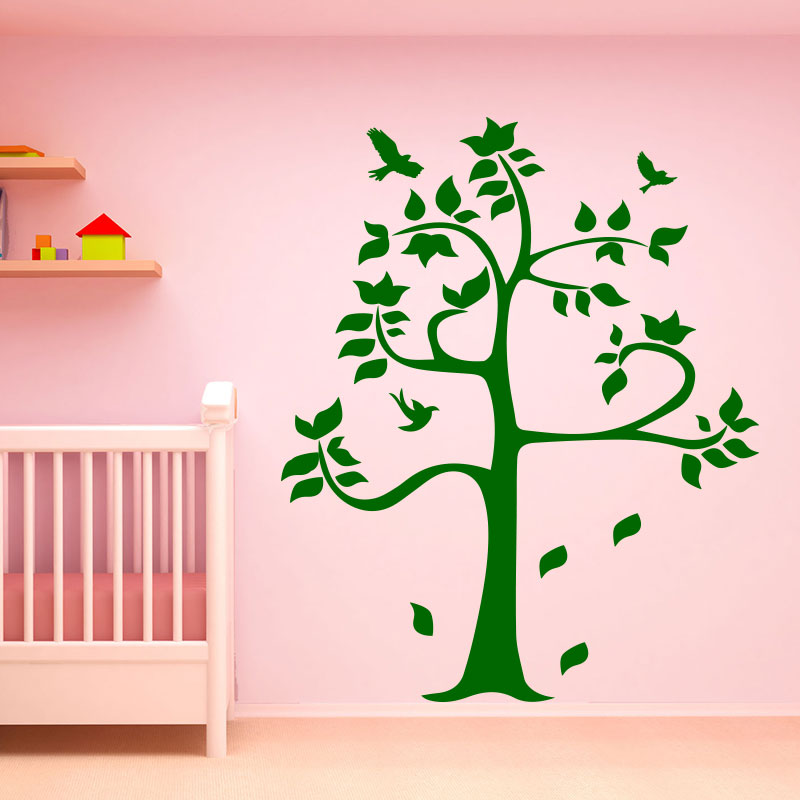 sticker arbre po tique et ses oiseaux stickers animaux oiseaux ambiance sticker. Black Bedroom Furniture Sets. Home Design Ideas