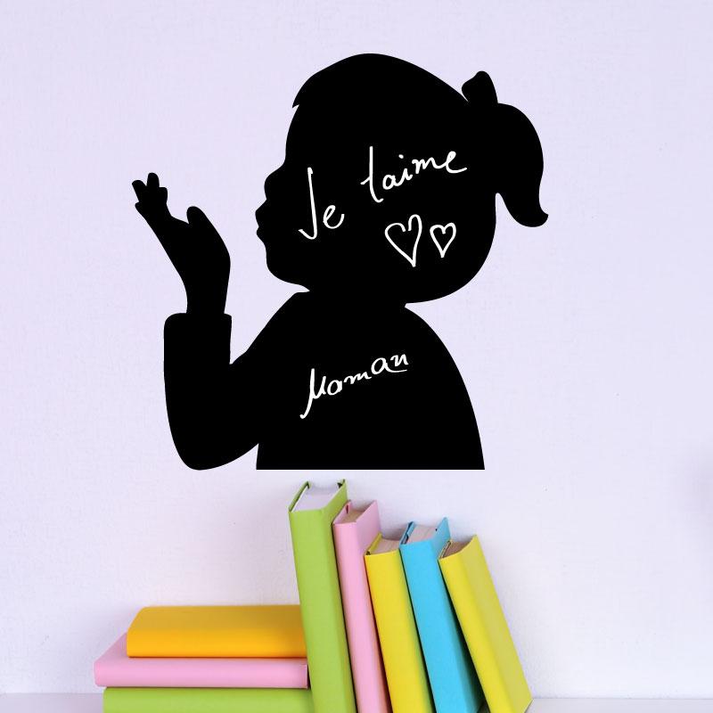 Stickers tableaux et ardoises sticker ardoise petite fille bisous ambiance - Stickers petite fille ...