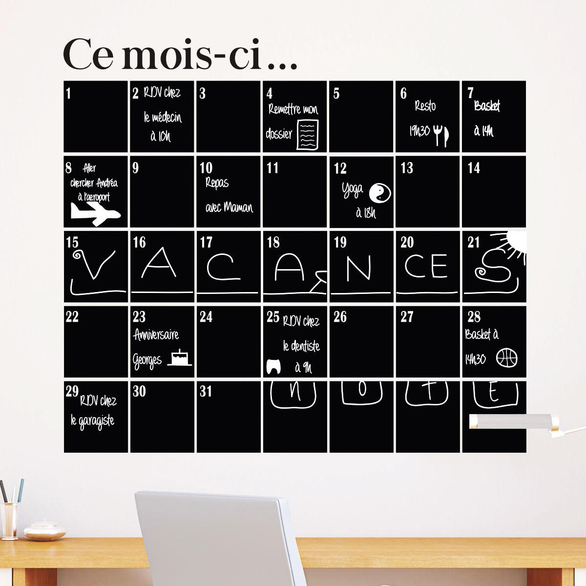sticker ardoise calendrier mensuel cuisine ardoise ambiance sticker. Black Bedroom Furniture Sets. Home Design Ideas