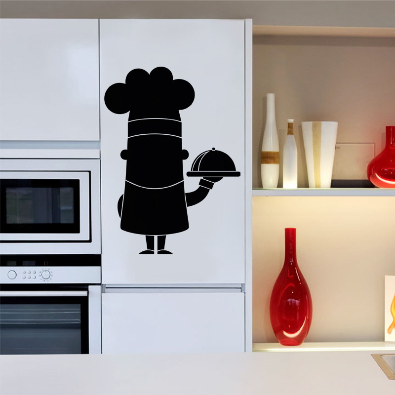 sticker ardoise caricature chef de cuisine stickers cuisine ambiance sticker. Black Bedroom Furniture Sets. Home Design Ideas