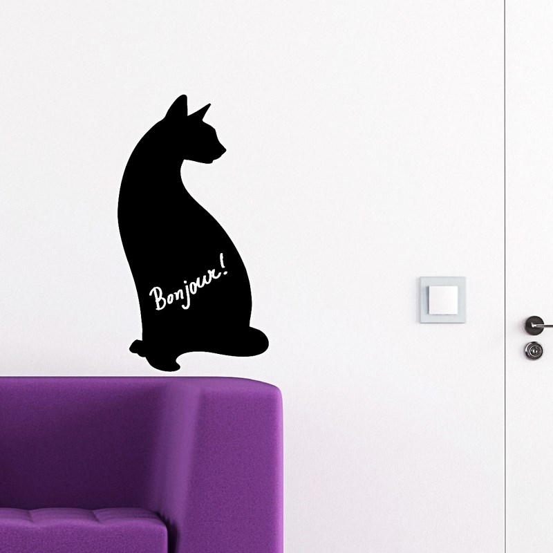 stickers tableaux et ardoises sticker ardoise chat ambiance. Black Bedroom Furniture Sets. Home Design Ideas