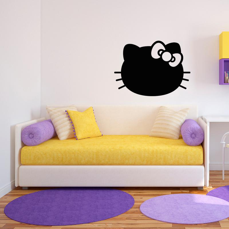 sticker ardoise chaton avec le n ud papillon stickers. Black Bedroom Furniture Sets. Home Design Ideas