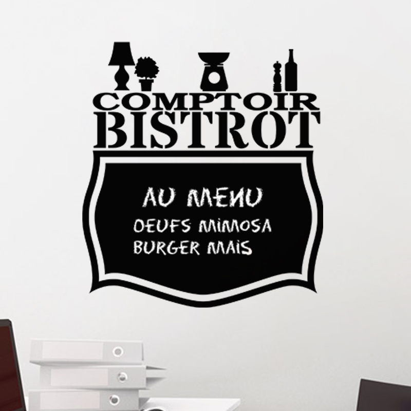 sticker ardoise comptoir bistrot stickers cuisine ambiance sticker. Black Bedroom Furniture Sets. Home Design Ideas