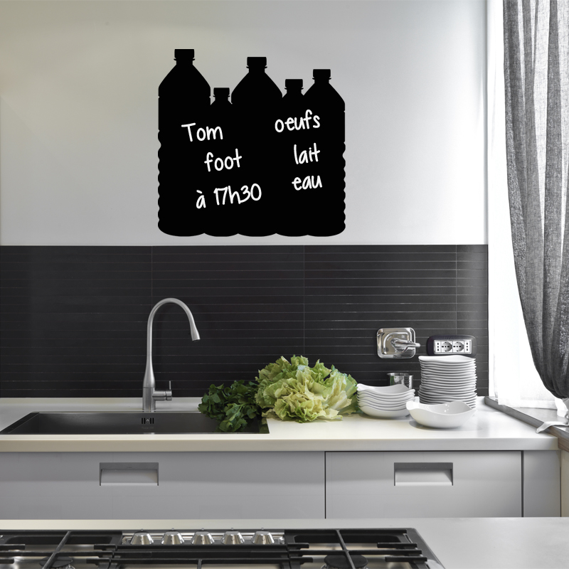 sticker ardoise design bouteilles stickers cuisine ambiance sticker. Black Bedroom Furniture Sets. Home Design Ideas