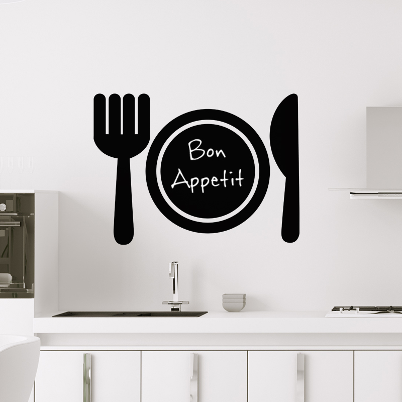 sticker ardoise design couverts de table stickers cuisine ambiance sticker. Black Bedroom Furniture Sets. Home Design Ideas