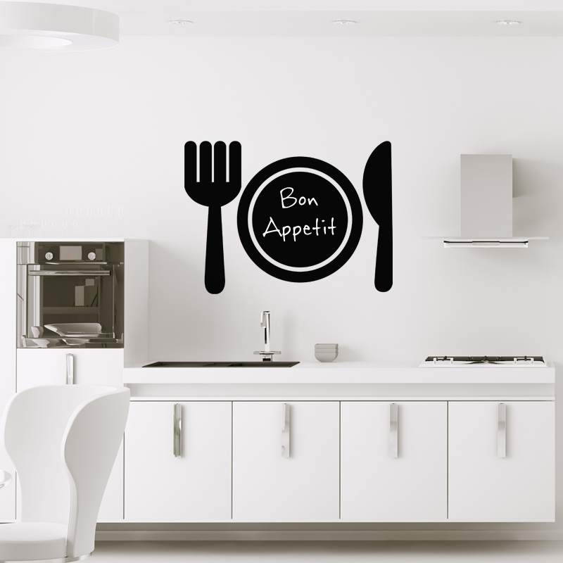 Sticker ardoise design couverts de table stickers cuisine ambiance sticker - Stickers ardoise cuisine ...